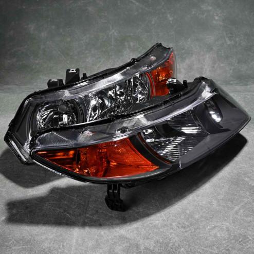 2LH-CV062JM-RS, 2LHCV062JMRS Lampy przednie Civic 8gen 06-08 Coupe FG2 black clear amber