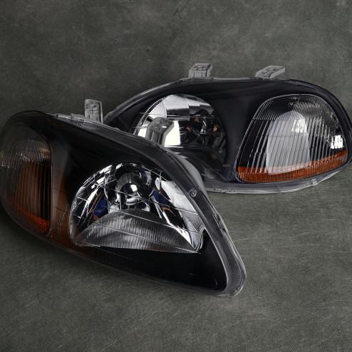 Lampy przednie Civic 6gen 96-98 black clear amber