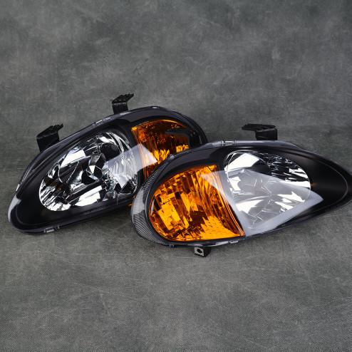 Lampy przednie CRX Del Sol Black Clear Amber