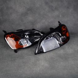 Lampy przednie Civic 01-03 EM2 Black Smoke Amber