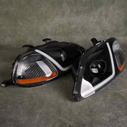 Lampy przednie Civic 6gen 96-96 Black Clear LED DRL