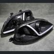 Lampy przednie Civic 6gen 99-00 Black Clear LED DRL