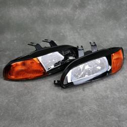 Lampy przednie Civic 5gen 92-95 Black Clear Amber jednoczęściowe